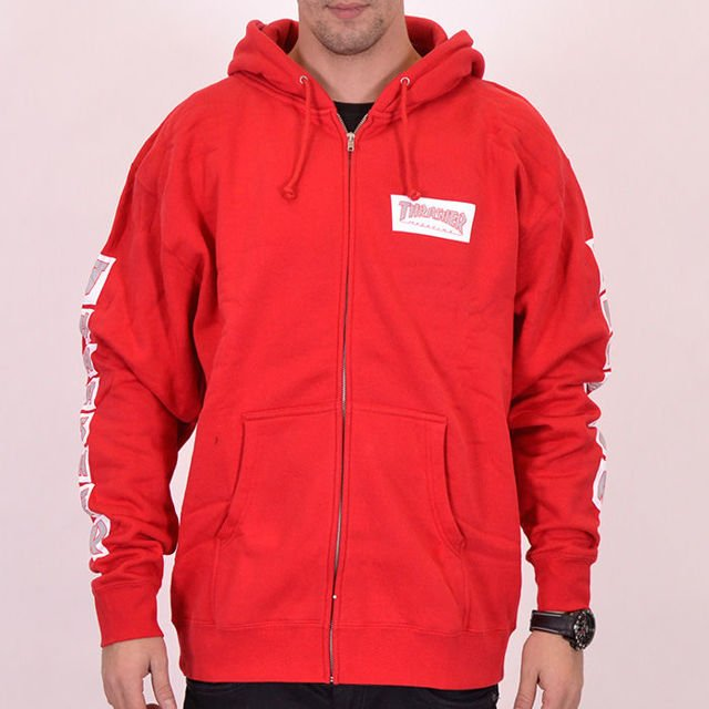 BLUZA THRASHER ZIP HOOD BOXED LOGO RED