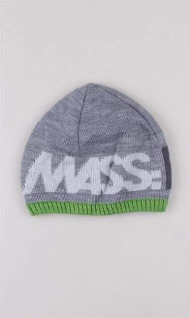 MASS CZAPKA ZIMOWA BEAIE LIGHT GREY/GREEN