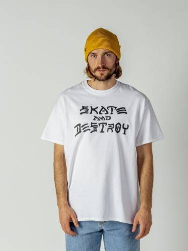 KOSZULKA THRASHER SKATE AND DESTROY WHT